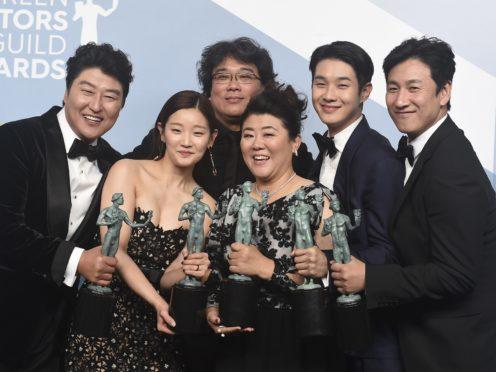Parasite stars celebrate their SAG Awards win (Jordan Strauss/Invision/AP)