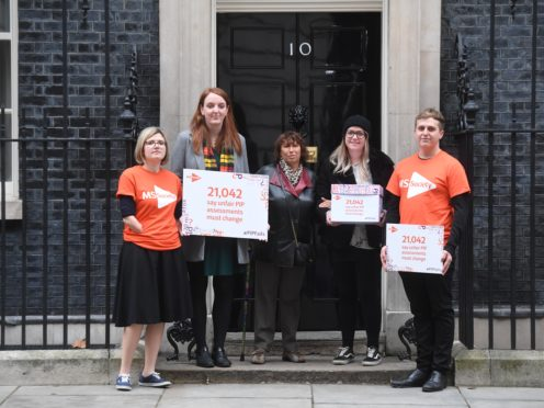Janis Winehouse, mother of the late Amy Winehouse, with MS Society staff in Downing Street (Kirsty O'Connor/PA)