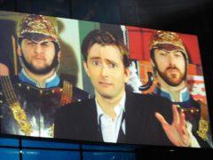 David Tennant receives his award via video link at the 2008 National Television Awards (Ian West/PA)