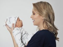 Rachel Riley with her baby daughter (Charlotte Emily Gray for From Babies With Love)