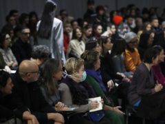 Spectators and journalists follow Drome's women's Fall Winter 2020/21 collection, presented in Milan (Antonio Calanni/AP)