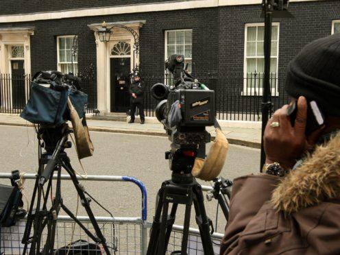 Members of the broadcast media outside Downing Street (Dominic Lipinski/PA)