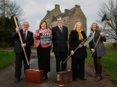 Tom Kerr, Visit West Lothian board director; Cabinet Secretary Fiona Hyslop; Lord Hopetoun; Cecil Meiklejohn, Falkirk Council leader; and Jenni Steele outside Midhope Castle (VisitScotland/PA)