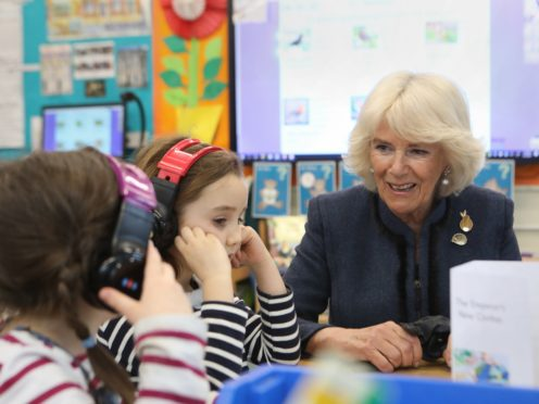 The Duchess of Cornwall speaking to year one pupils during a visit to Bousfield Primary School in London to celebrate World Book Day (Philip Toscano/PA)