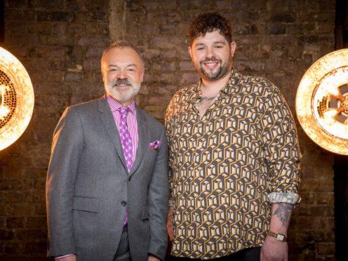Programme Name: Eurovision 2020 – TX: n/a – Episode: n/a (No. n/a) – Picture Shows: Graham Norton, James Newman – (C) BBC Studios – Photographer: Guy Levy