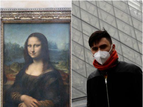 The Mona Lisa and a tourist outside the Louvre (Chris Radburn/PA/Christophe Ena/AP)