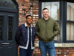 Rugby star Keegan Hirst meets Coronation Street actor Nathan Graham amid football homophobia storyline (Danielle Baguley/ITV/PA)