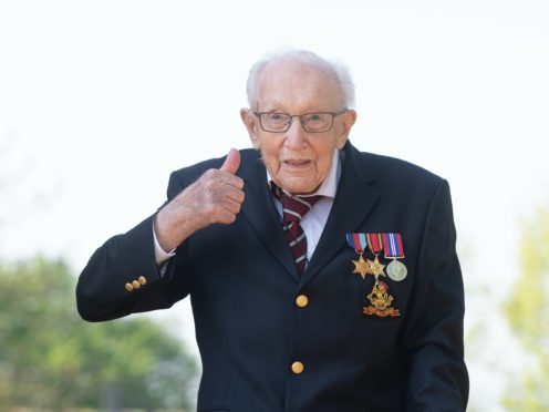 Captain Tom Moore at his home in Marston Moretaine, Bedfordshire (Joe Giddens/PA)