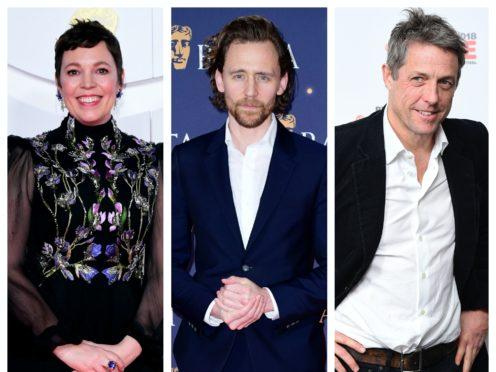 Olivia Colman, Tom Hiddleston, Hugh Grant (PA)