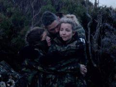 Nikki Sanderson and Tony Bellow comfort Helen Skelton (Channel 4)