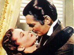 Vivien Leigh and co-star Clark Gable in their famous clinch in the 1939 film Gone With The Wind (PA)