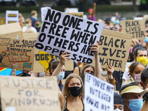 People take part in a Black Lives Matter protest in Brighton (Aaron Chown/PA)