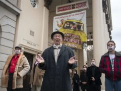 Paul Whitehouse, centre, as Grandad, with members of the cast and crew of Only Fools And Horses The Musical (Victoria Jones/PA)