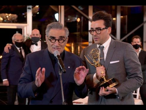 Eugene and Daniel Levy enjoyed a night of stunning success as their show Schitt's Creek swept the comedy categories at the Emmys (TV Academy/PA)