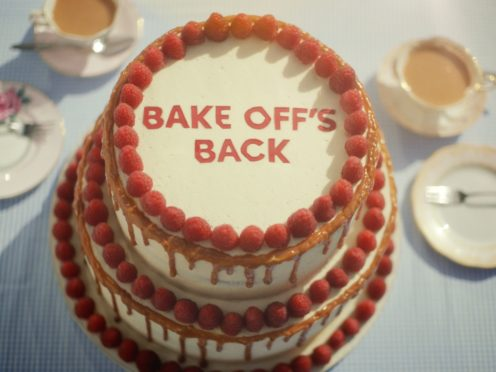 The 'Bake Off's Back' cake (Channel 4/PA)