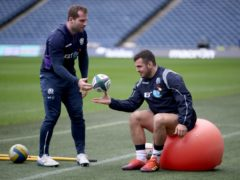 Scotland's Fraser Brown (left) and Stuart McInally are rivals for a starting slot (Jane Barlow/PA)