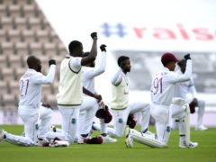 West Indies players take a knee on their tour of England (Mike Hewitt/NMC Pool).
