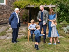 The Duke and Duchess of Cambridge and their children, pictured with Sir David Attenborough (Kensington Palace/PA)