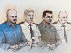 Court artist sketch by of Gheorghe Nica (left) and Eamonn Harrison (second right) (Elizabeth Cook/PA)