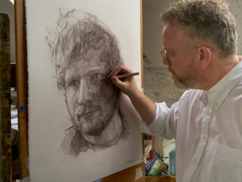 The portrait of Ed Sheeran by Colin Davidson (Ed Sheeran: Made In Suffolk Legacy Auction/PA)