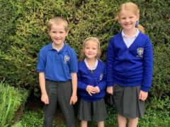 Simeon Powell, six, with his sisters Amelia, four, and Phoebe, eight (Thames Valley Police/PA)