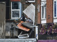 The scene of a suspected gas explosion on King Street in Ealing (Dominic Lipinski/PA)