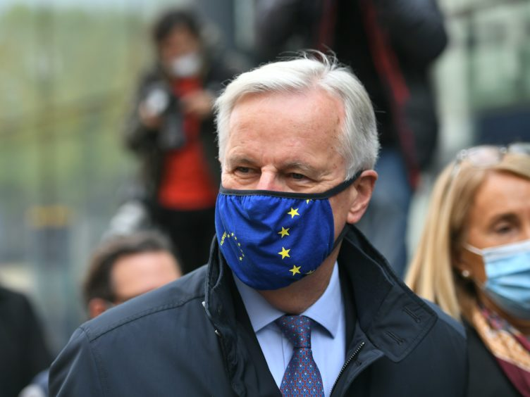 EU's chief negotiator Michel Barnier walking to the Department for Business, Energy and Industrial strategy on Victoria Street, London, as efforts continue to strike a post-Brexit trade deal.
