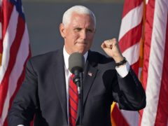 Vice president Mike Pence speaks at a campaign rally in West Mifflin, Pennsylvania (Gene J Puskar/AP)