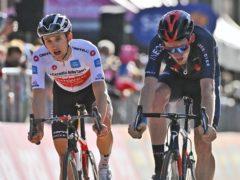 Tao Geoghegan Hart, right, won a thrilling stage 20 of the Giro d'Italia (Marco Alpozzi/AP)