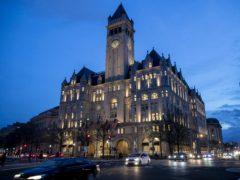 The Trump International Hotel, where the president is planning his election night gathering (Alex Brandon/AP)