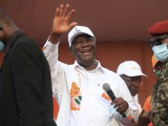 Ivory Coast President Alassane Ouattara is bidding for a third term in office (Diomande Ble Blonde/AP)