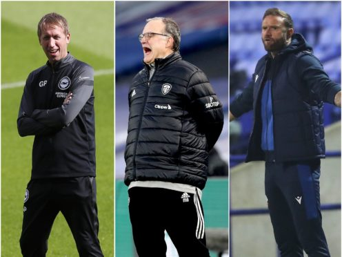 Graham Potter, Marcelo Bielsa and Ian Evatt (l-r) have voiced concerns over some clubs allowing fans back while others cannot (PA)