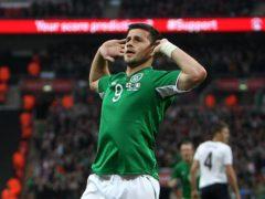 Republic of Ireland striker Shane Long celebrates scoring against England at Wembley in May 2013 (John Walton/PA)