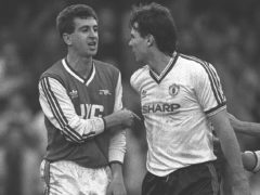 Nigel Winterburn (left) and Brian McClair were heavily involved in the brawl at Old Trafford (PA).