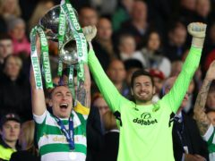 Scott Brown (left) is backing Hearts keeper and former Celtic team-mate Craig Gordon to win a Scotland recall.