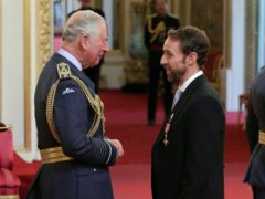 England football manager Gareth Southgate receives his OBE from the Prince of Wales in 2019 (Jonathan Brady/PA)