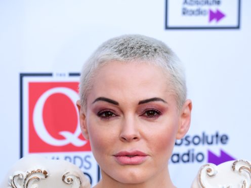 Actress and activist Rose McGowan said she broke her arm after reading US election results while on the stairs (Ian West/PA)