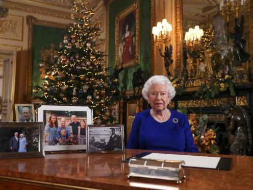 The Queen recording her annual Christmas broadcast in 2019 (Steve Parsons/PA)