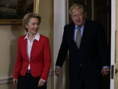 Boris Johnson and Ursula von der Leyen are due to speak on the phone on Saturday (Kirsty Wigglesworth/PA)
