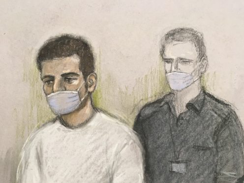 A court sketch by Elizabeth Cook of Khairi Saadallah, who has admitted murdering three people and the attempted murder of three others during the Reading terror attack (Elizabeth Cook/PA).