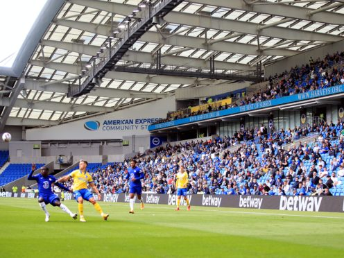 Socially-distanced Brighton fans watch their team in a pre-season friendly against Chelsea (Adam Davy/PA).