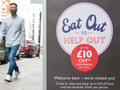 Diners got up to £10 off each meal during parts of August (Dominic Lipinski/PA)