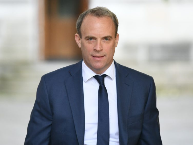 Foreign Secretary Dominic Raab has accused China of breaching its international treaty obligations (Stefan Rousseau/PA)