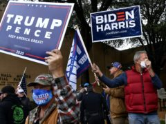 Biden-Harris and Trump-Pence supporters in Texas (Ronald W. Erdrich/The Abilene Reporter-News via AP)