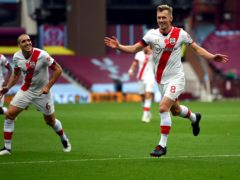 Southampton's James Ward-Prowse (right) celebrates the first of his two freekick goals in a 4-3 win over Aston Villa (Gareth Copley/PA)