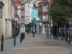 A quiet Worcester high street in November (David Davies/PA)