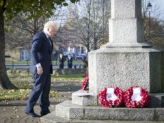 Prime Minister Boris Johnson lay a wreath of remembrance at Uxbridge War Memorial ahead of Remembrance Sunday (Stefan Rousseau/PA)