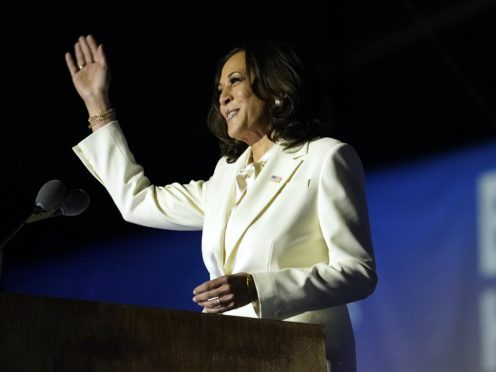 Kamala Harris speaks on Saturday in Delaware (Andrew Harnik/AP)