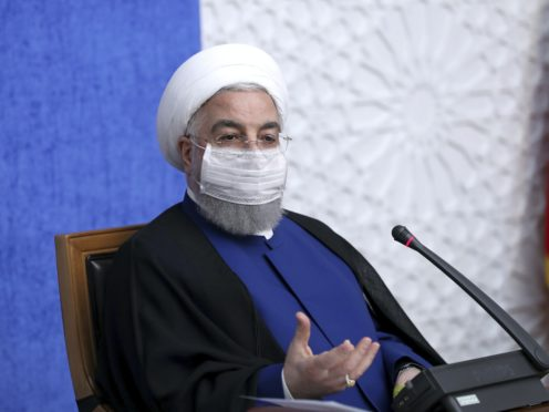 Iran's president Hassan Rouhani speaks at a meeting in Tehran (Iranian Presidency Office via AP)