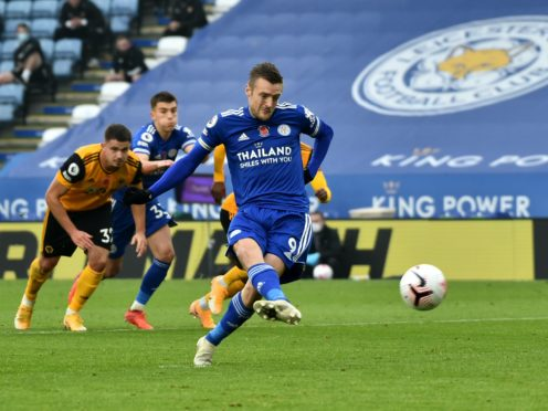 Leicester's Jamie Vardy opened the scoring from the spot before having another penalty saved (Rui Vieira/PA)